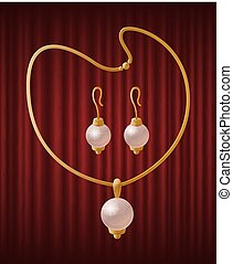 Set of Golden Jewelry Items with Pearls Vector
