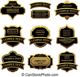 Set of golden labels and frames for design food and...