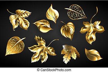 set of golden leaves