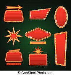 Set of golden lights casino banners copy space