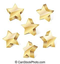 set of golden metallic stars on white background. vector illustration