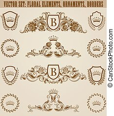 Set of golden monograms with floral elements for page, web