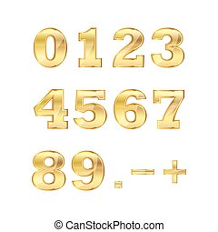 Set of golden numbers. Vector illustration.