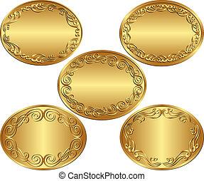 set of golden oval backgrounds