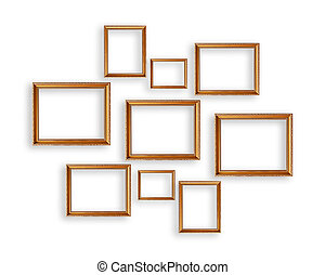 Set of golden picture frames on white background