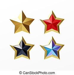Set of golden realistic stars red set isolated on a white background. Vector illustration