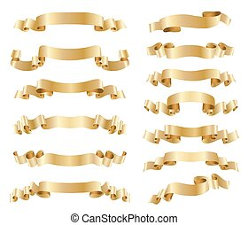 set of golden ribbons on white