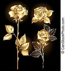 Set of golden roses - Set of gold, shining roses on a black...
