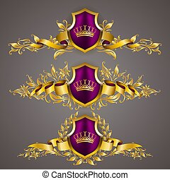 Set of golden royal shields with floral elements, ribbons, laurel wreaths for page, web design. Old frame, border, crown in vintage style for label, emblem, badge, logo. Vector illustration EPS10