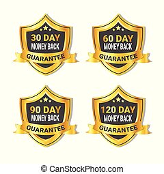 Set Of Golden Shield Stickers Money Back Guarantee Label With Ribbon Isolated