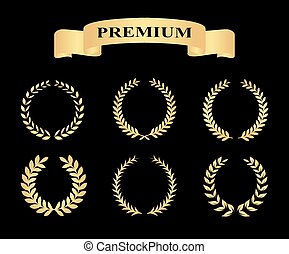 Set of golden silhouette circular laurel foliate and wheat wreaths depicting an award achievement heraldry nobility and the classics with banners vector illustration eps10