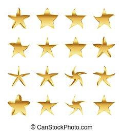 Set of golden stars. Vector illustration.
