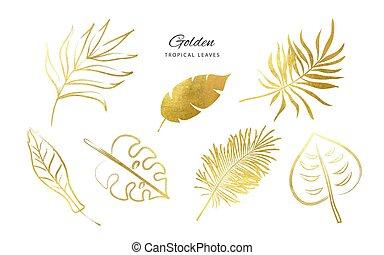 Set of Golden tropical leaves.Decoration elements for your design.Vector illustration