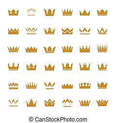 Set of golden vector crowns and icons