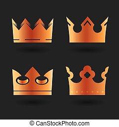 set of golden vector crowns