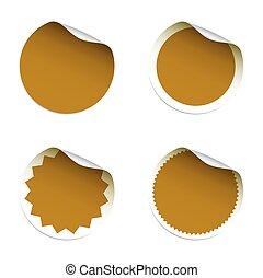 Set of golden vector stickers