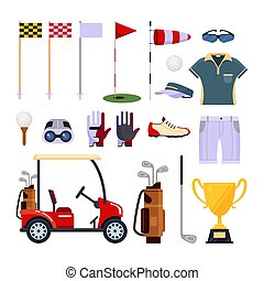 Set of golf equipment icon logo in flat style isolated on...