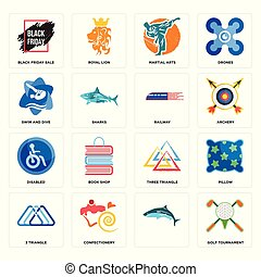 Set of golf tournament, , 3 triangle, three disabled, railway, swim and dive, martial arts, black friday sale icons