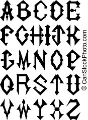 Alphabet - Set of Gothic Style Alphabet Letters