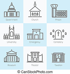 Set of government buildings icons