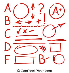 Set of grade latters and teacher marks.