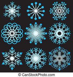 Set of gradient snowflakes