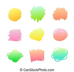 Set of Gradient Spots, Multicolored Blot Icons Isolated on White Background, Bright Paint Yellow, Pink, Red and Green Colors. Colorful Drawings Design Elements, Sketch Splashes. Vector Illustration