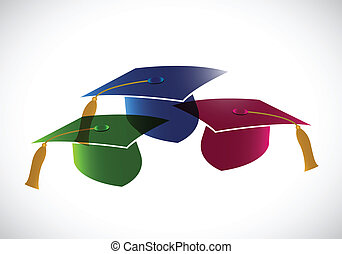 set of graduation hats. tassel. illustration