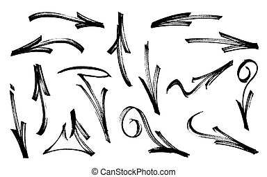 Set of graffiti arrows drawn by a marker. Vector illustration