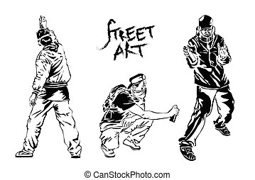 Set of graffiti artists. Collection street art elements. Vector illustration.