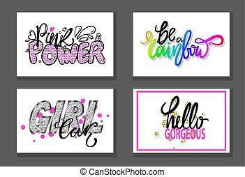 Set of Graffiti Fonts Vector Illustration Slogans
