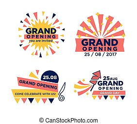 Set of grand opening announcements - Vector illustration of ...