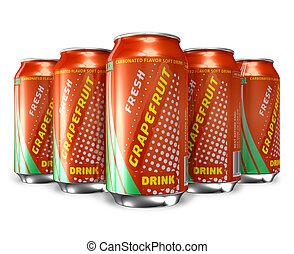 Set of grapefruit soda drinks