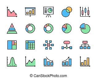 Set of Graph and Chart Flat Color Icons. Pie Chart, Presentation and more.