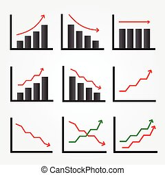 Set of Graph Icon isolated on grey background.
