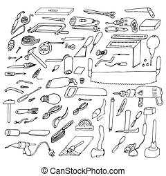 Set of graphic drawings different tools