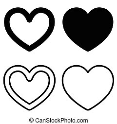 Set of graphic heart icons on white background