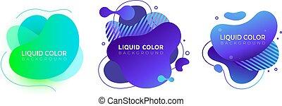 Set of graphic liquid color elements
