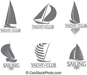 Set of graphic yacht club, sailing sport logo templates -...