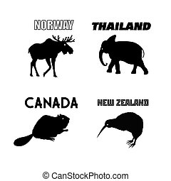 Set of graphics animals from different countries