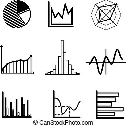 Set of graphs and charts - Set of black and white graphs and...