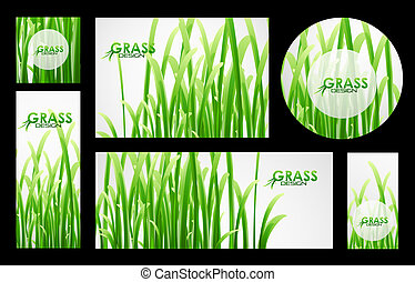 Set of grass banners