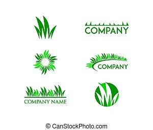 Set Of Grass Logo Design Template