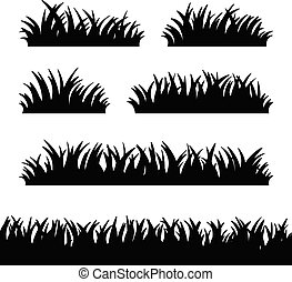 Set of grass silhouettes on the white background. Vector illustration.