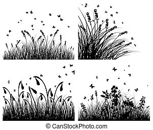 set of grass silhouettes