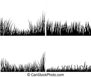 set of grass silhouettes - Set of four vector grass ...