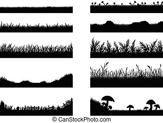 Set of grass vector on white background. Grass vector by hand drawing.