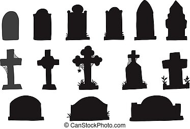 Set of grave marker vector on white background. cemetery mark silhouette by hand drawing.