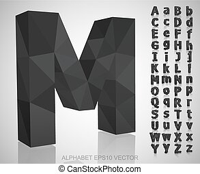 Set of Gray 3D polygonal Letters with reflection. EPS 10 vector.