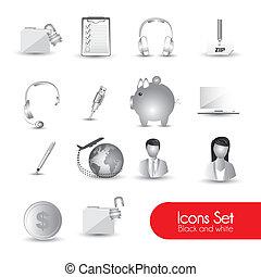 set of gray icons